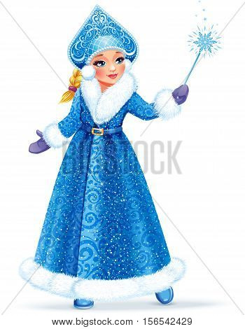 Vector illustration. Beautiful girl wearing long blue coat with white fur. Snow Maiden (Snegurochka) traditional Russian Christmas character on white background.