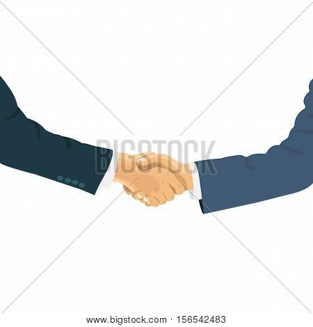 Handshake of business people on the world background. Hand shaking meeting agreement. Vector flat design.