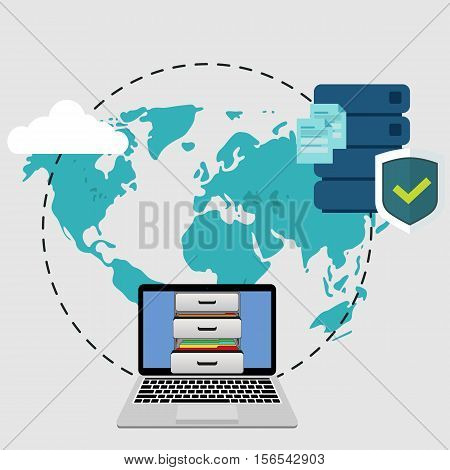 Big data secure storage from laptop with personal documents. Global storage in flat style. Cloud information saving.