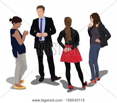 Group of four young people. Vector color illustration.