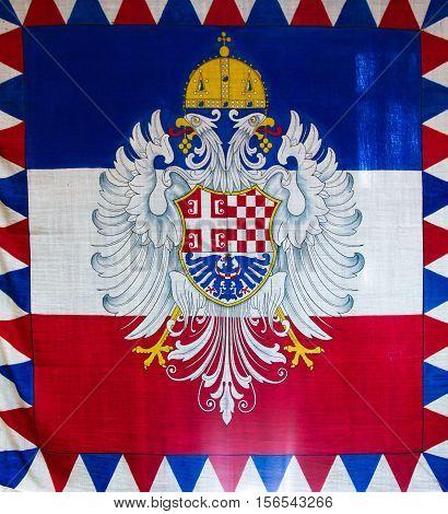 The tricolour Serbian Flag in Belgrade Serbia. poster
