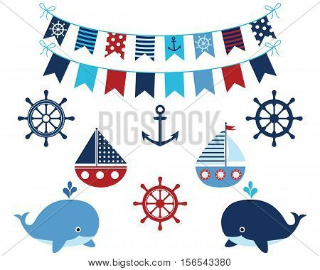 Nautical navy blue and red set of whales, boats, buntings anchor, wheels. Marine and ocean themed design elements collection for baby showers, birthdays, invitations.