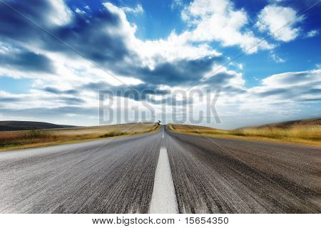 Country Road with Motion Blur