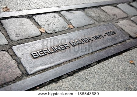 Berlin Germany - October 07 2016: Berlin wall sign on the street Berliner Mauer