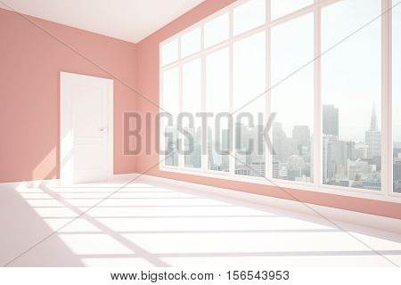 Unfurnished Pink Interior Side