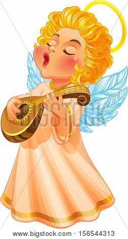 Vector Illustration. Cute Christmas Angel in a long light dress. He sings a song and playing lute. Isolated on white background