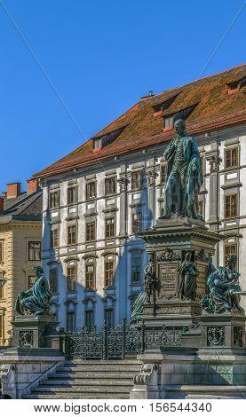 Monument dedicated to Archduke Johann on main square in Graz Austria