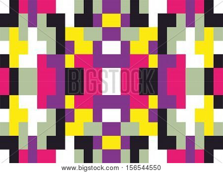 Techno abstract background. Glitch art style. Digital rectangular shapes geometric pattern. Stylized signal error. Flow of random abstract square cubes. Vector element for design concept, poster, web