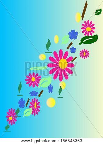ramoscello fiorito con fiori rosa e azzurri