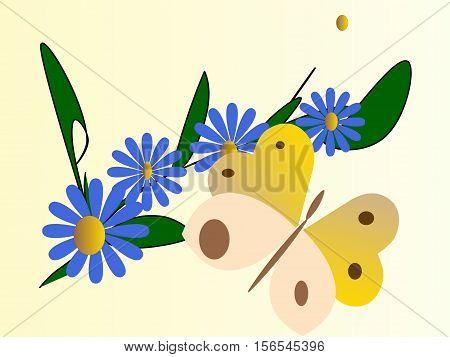 farfalla gialla su ramoscello di  fiori azzurri