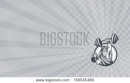 Business card showing Illustration of a berserker a champion Norse warrior wearing pelt of bear skin lifting barbell and kettlebell viewed from front set inside circle done in retro style.