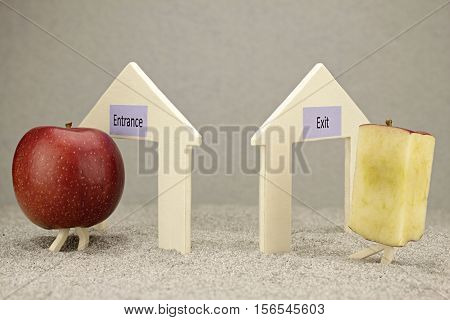 Exaggerated beauty delusion symbolized with apples and houses