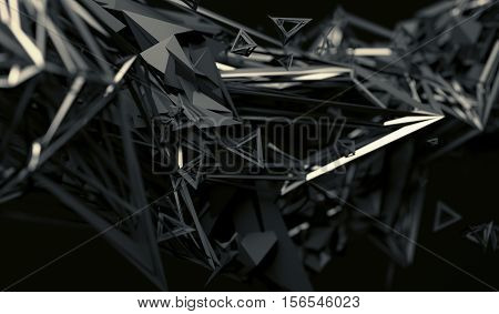 Abstract 3d rendering of chaotic surface. Contemporary background with futuristic polygonal shape. Distorted low poly object with sharp lines.