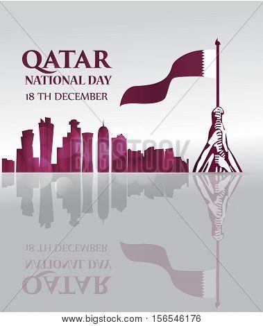 Qatar national day 18 th december celebration background . vector illustration