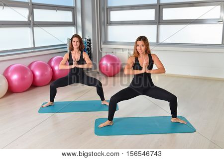 Fitness, sport, exercising lifestyle - female group doing yoga exercises at gym.