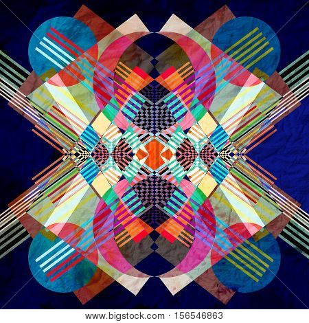 Watercolor abstract colorful retro background with geometric elements