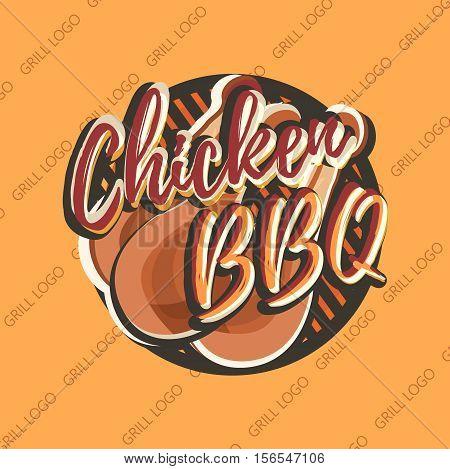 Creative logo design with chicken legs. Vector illustration. Chicken logo designed for fastfood menu, chicken house, snack bar or bbq bar.