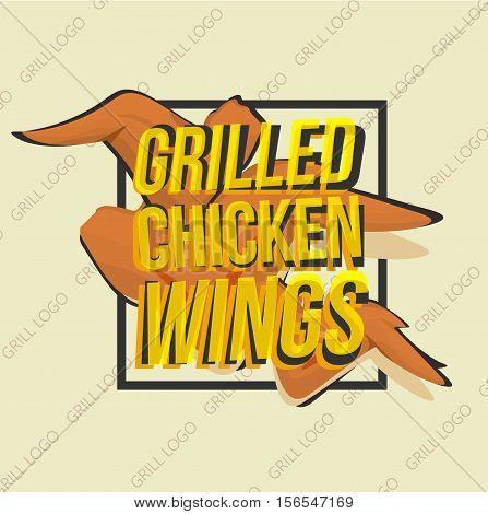 Creative logo design with grilled chicken wings. Vector illustration. Chicken logo designed for fastfood menu, chicken market, snack bar or bbq bar.