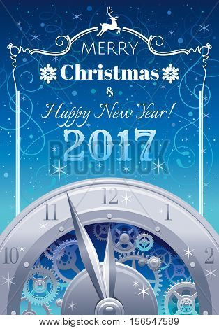 Merry Christmas and New year 2017 flyer. Greeting card design with clockwork, cogwheel, minute, hour hand, vintage clock element on black background. Reindeer icon, text lettering, night stars sky