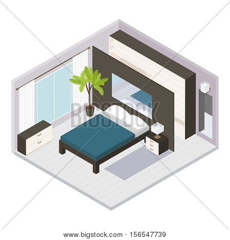 3d set Isometric bedroom interior with large double bed and room style vector illustration