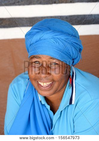 LESEDI CULTURAL CENTER, SOUTH AFRICA-NOVEMBER 5, 2016: Unidentified Pedi tribe woman wearing her traditional tribal clothing.