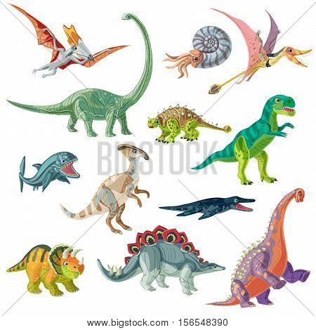 Jurassic period animals set with pterodactyl tyrannosaurus and brachiosaurus ancient conch and giant fishes isolated vector illustration
