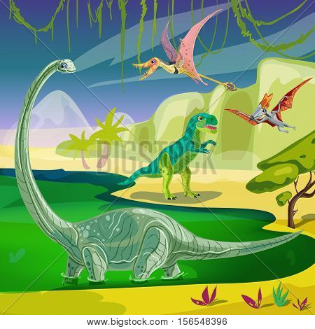 Animals jurassic composition with flying pterodactyl tyrannosaurus at coast and brachiosaurus standing in green water vector illustration