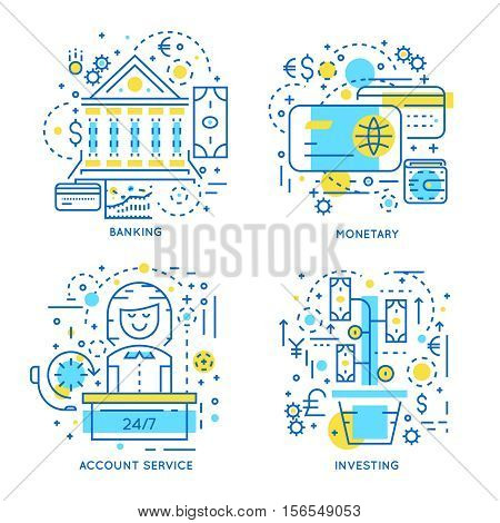 Financial business linear concept with banking monetary transactions account service and investment isolated vector illustration