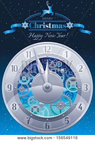 Merry Christmas and New year greeting card design template with clockwork, cogwheel, minute, hour hand, vintage clock element on black background. Reindeer icon, text lettering, night stars sky, snow.