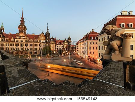 Square in Dresden with the tram in the evening. Germany Europe.