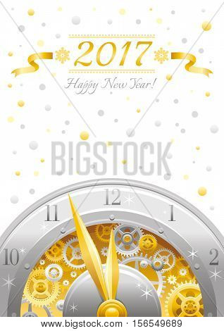 Merry Christmas and New year 2017 flyer. Greeting card design with clockwork, cogwheel, minute, hour hand, vintage clock element on white background. Gold silver icon, text lettering, golden stars sky