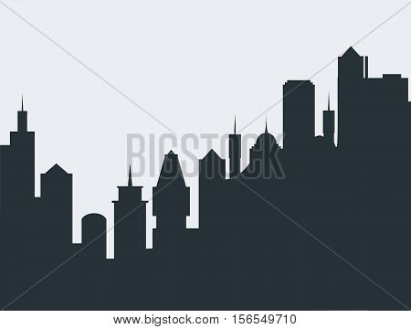 Set of cityscape background. Skyline silhouettes. Modern architecture. Black urban landscape. Horizontal banner with megapolis panorama. Building icon. Vector illustration on transparent