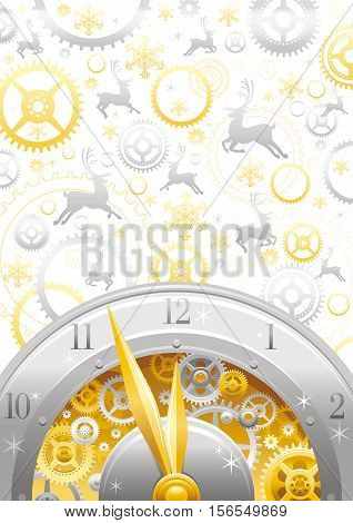 Merry Christmas and New year flyer. Greeting card design with silver reindeer, clockwork, cogwheel, golden minute, hour hand, vintage metal clock element on white background. Gold silver Xmas icons