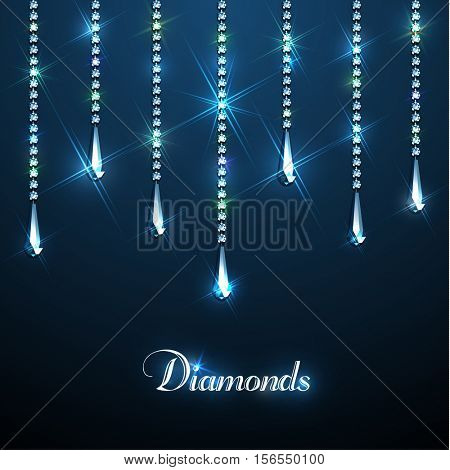 Diamond sparkling beads jewellery background - eps10