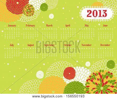 Vector calendar for 2013. Vector Illustration. Stylish floral background