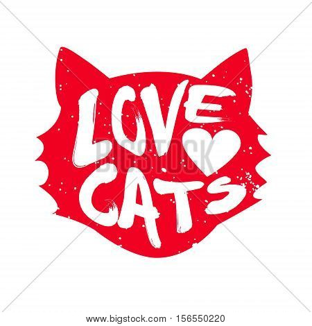 Head of the cat with heart and lettering text Love Cats. Vector illustration.