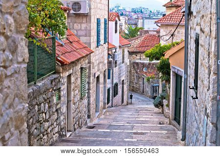 Old stone street of Split historic city Dalmatia Croatia