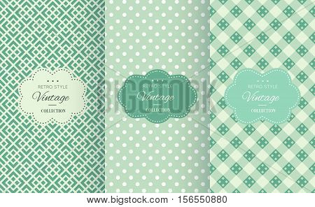 Retro mint and emerald vector seamless patterns. Endless texture can be used for wallpaper, pattern fills, web page background, surface textures. Set of shabby vintage geometric ornaments.