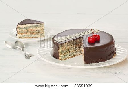 Chocolate-covered Poppy Seed Cake With Cherries
