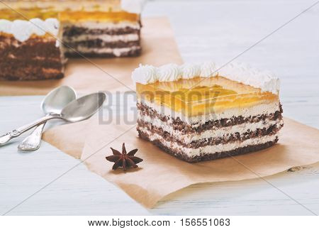 Banana Cake With Jelly On Baking Paper