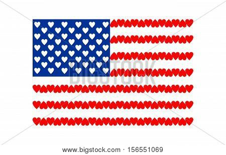 American Flag of Love isolated on white background. Flag of United States with hearts. Happy Valentines Day concept. Romantic patriotic greeting card. For banner, poster. Vector
