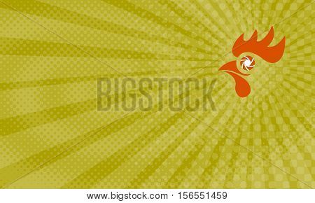 Business card showing Illustration of a rooster head with camera shutter eye set done in retro style.