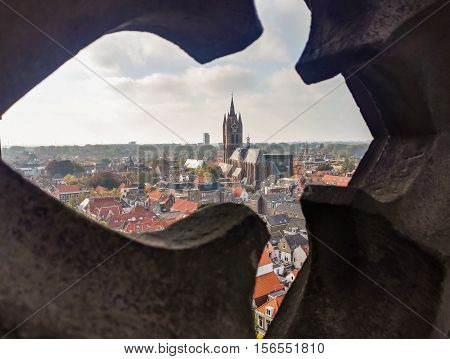 The view of gothic cathedral in Delft and old town, Holland
