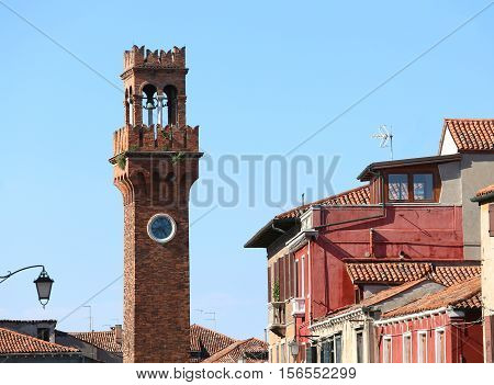 Ancient Bell Tower On The Island Of Murano Near Venice