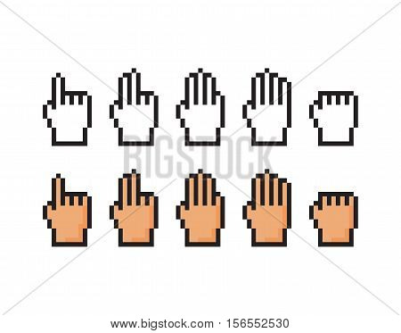 Set of pixel icons of hand. Score, one, two, three, four