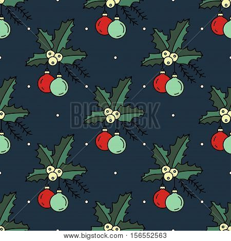 Vector seamless pattern with Christmas decorations for Christmas holidays and New Year 2017. Vector illustration for Merry Christmas and Happy New Year print design with Christmas tree toy.