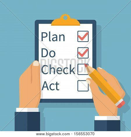 Plan Do Check Act. Businessman checks the action list holding clipboard in hand. Business concept. Action plan on paper. PDCA process. Vector illustration flat design.