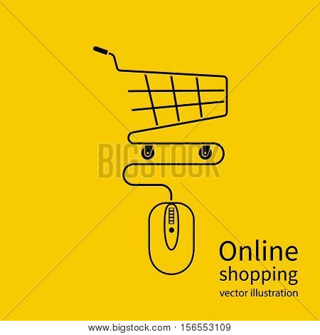 Online shopping concept. Vector illustration minimal design. Computer mouse connect to the shopping basket. Modern technology e-shopping. Purchases in internet. E-commerce.