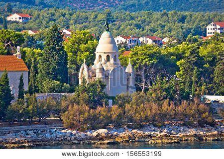 Mausoleum of Supetar seaside view island of Brac Dalmatia Croatia