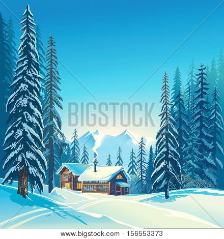Winter forest landscape and houses, possible shelter for tourists, tourist base. Raster illustration.